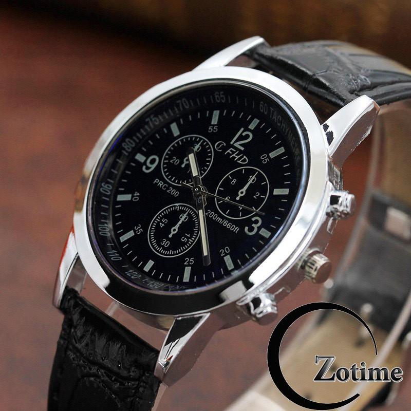 Đồng hồ nam Dotime dây da thiết kế cao cấp sang trọng ZO101