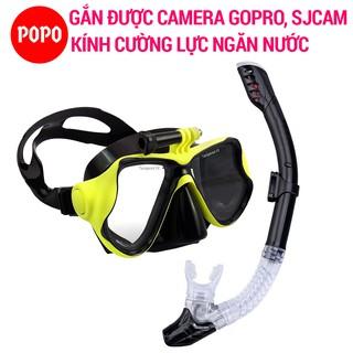 Bộ mặt nạ lặn ống thở GOPRO chính hãng POPO kính lặn biển gắn được Gopro SJCAM mắt kính cường lực