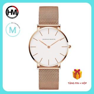 Đồng hồ nữ siêu mỏng HANNAH MARTIN CH36W máy Nhật cao cấp dây thép sang trọng cá tính thumbnail