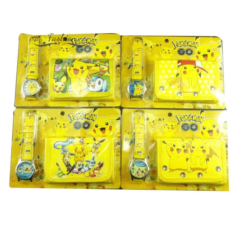 (Hàng Mới Về) Set Ví Tiền Xu Kèm Đồng Hồ Họa Tiết Nhân Vật Hoạt Hình Pokemon