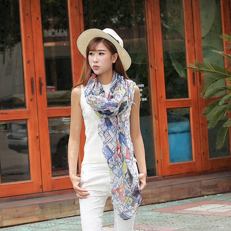 Voile scarf, patchwork color, beach breathable and comfortable