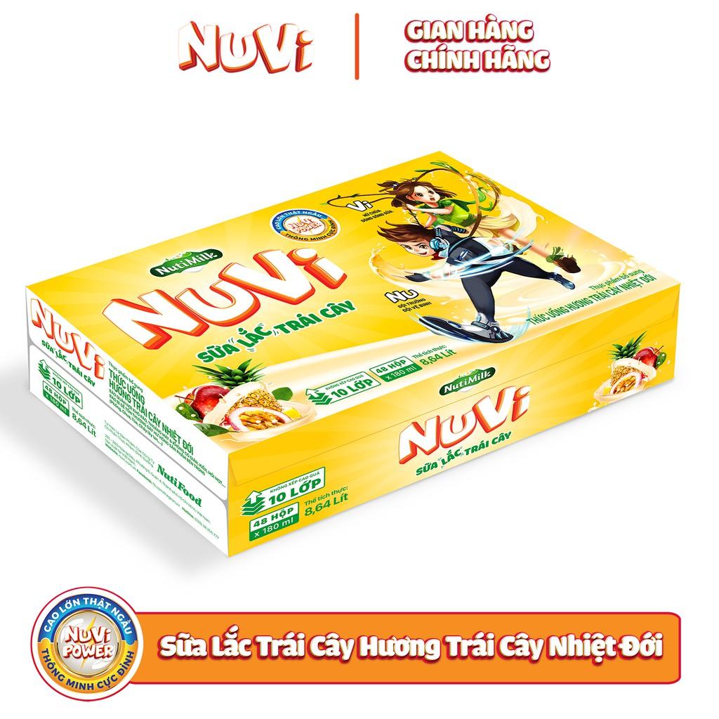 Thùng 48 hộp NuVi TU hương Trái Cây Nhiệt Đới SLTC hộp 180ml /hộp
