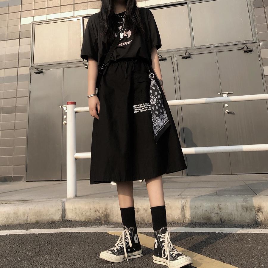 chân váy chữ a in họa tiết phong cách retro dành cho nữ