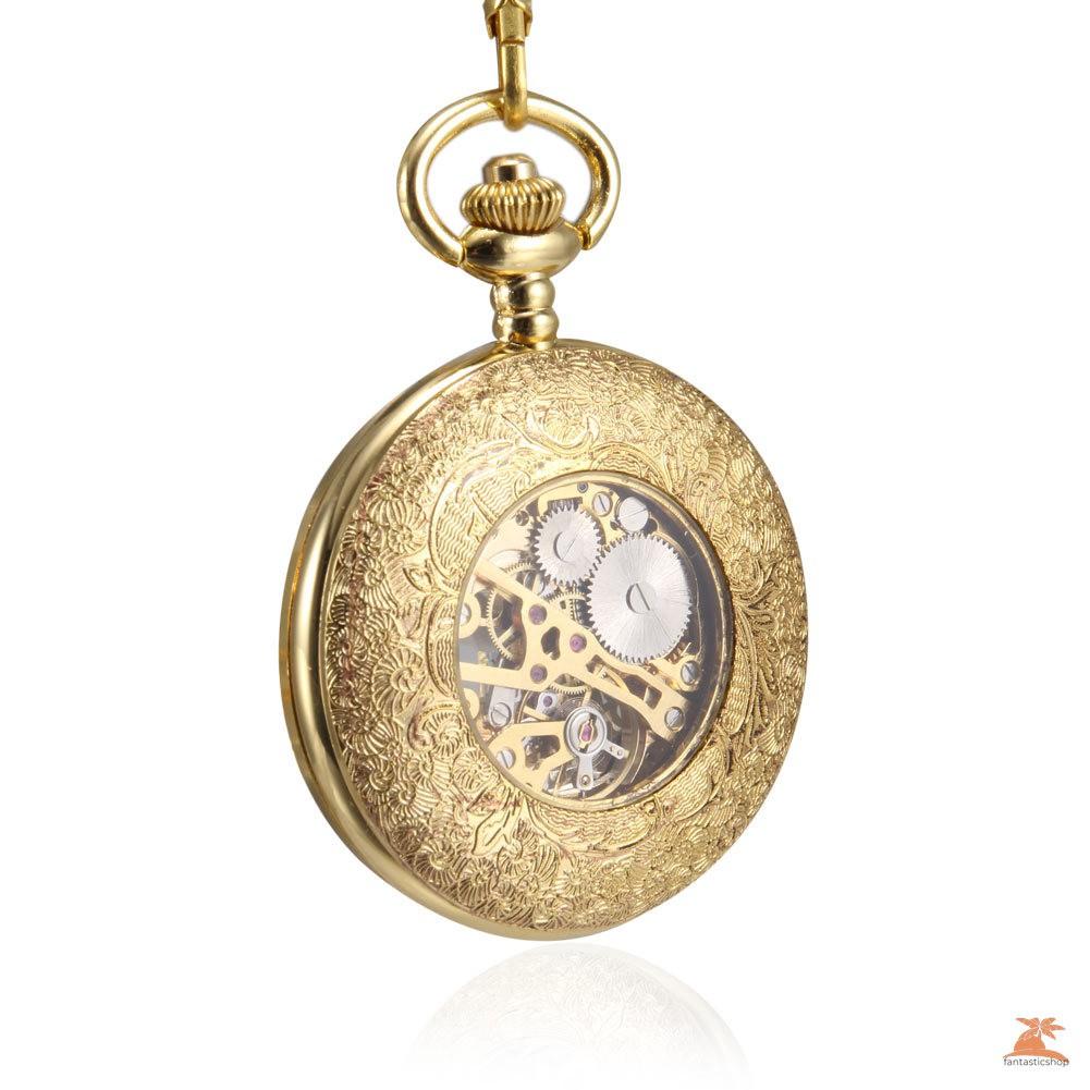#Đồng hồ bỏ túi# Men Women Mechanical Pocket Watch Golden Hollow Carved Case with Chain
