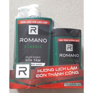 Sữa tắm cao cấp Romano classic (xanh lá) 650g tặng chai gội 150g