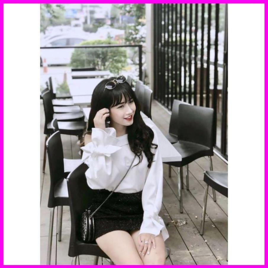 Mặc gì đẹp: Xinh xinh với [ Freeship ] Áo trắng lệch vai nữ tay phồng cột nơ xinh xắn Đầm nữ dự tiệc