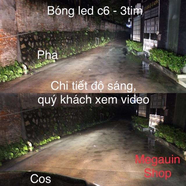 ĐÈN PHA LED C6 3 TIM  CHÂN H4 LẮP NHIỀU LOẠI XE (BẢO HÀNH 6 THÁNG)