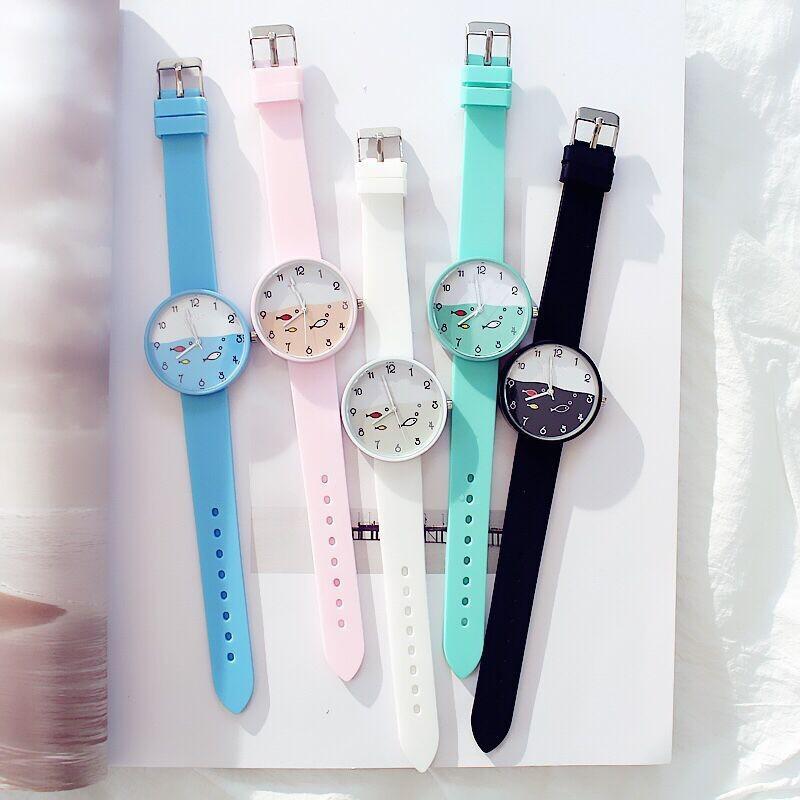 Đồng hồ trẻ em dây nhựa nhiều màu lựa chọn