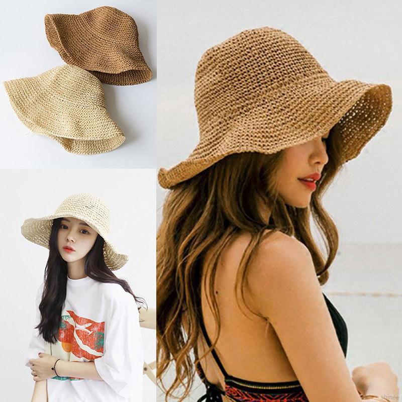 Mũ rơm dệt rộng vành màu trơn thời trang cho nữ