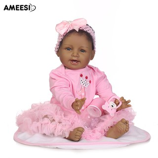 🔅🔆AMEESI 55cm Black Reborn Baby Vinyl Silicone Doll Accompany Toy