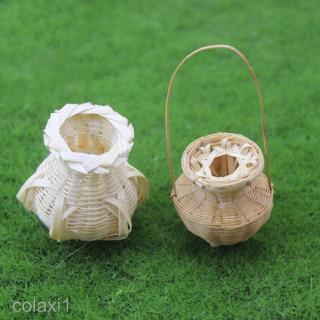 Miniature Wicker Basket Toy Model For Fairy Garden Bamboo Baskets Handicraft