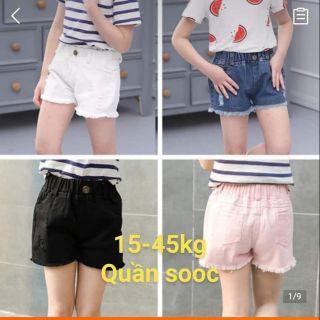 (Mới về lô mới)Quần sooc jeans Quảng Châu size nhí đại cho bé gái15-45kg(có video)