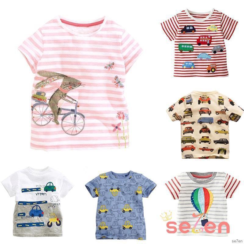 Áo thun chất liệu cotton in hình hoạt hình đáng yêu cho bé trai 1-6 tuổi