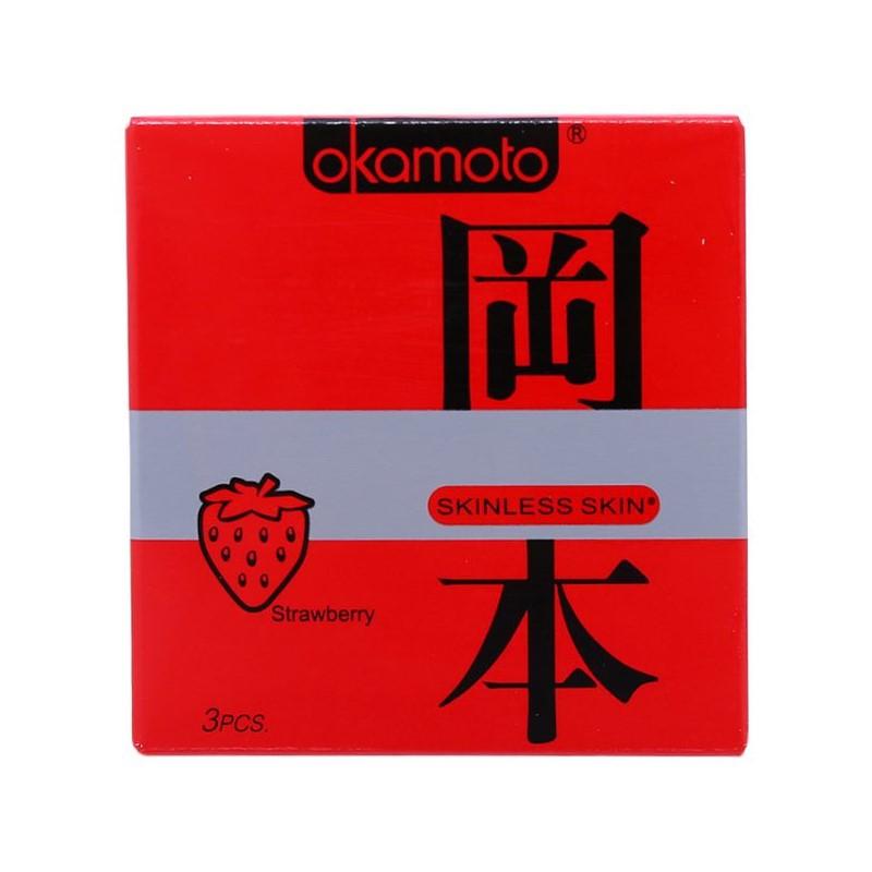 Bao cao su Okamoto hương dâu quyến rũ (3 bao)