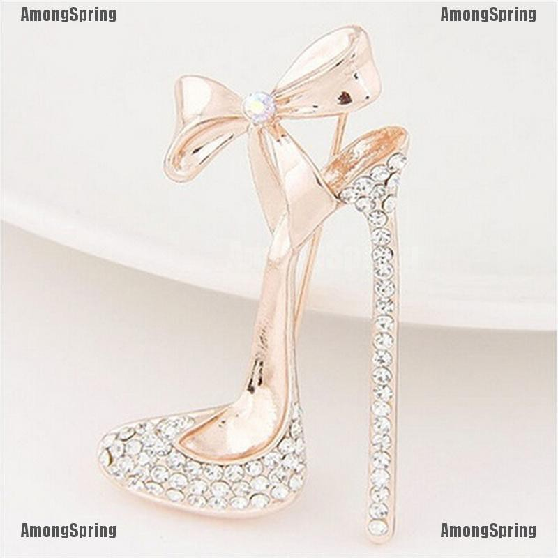 Amongspring❥ Gold plated High-heeled shoe Brooch Pin Stunning Crystals rhinestone Jewelry Hot