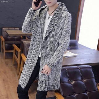 ■Autumn mid-length horn button sweater cardigan thick knitted windbreaker men s hooded jacket