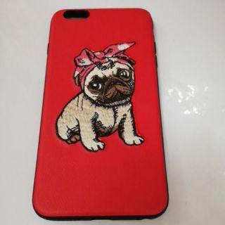 Ốp Lưng Iphone 6 Plus Hình Cún Thêu Ốp Đỏ
