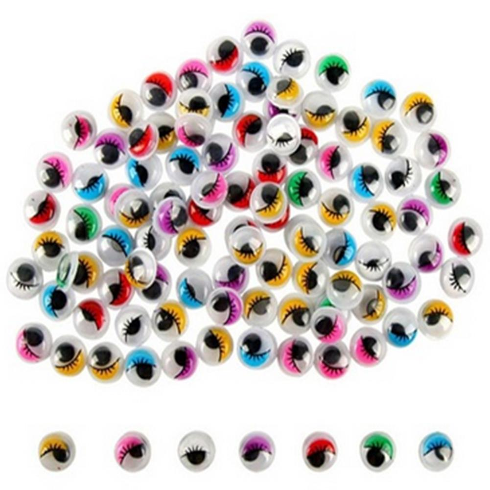100pcs Coloured Eyelashes Wiggly Wobbly Googly DIY Doll Eyes Toys Accessories