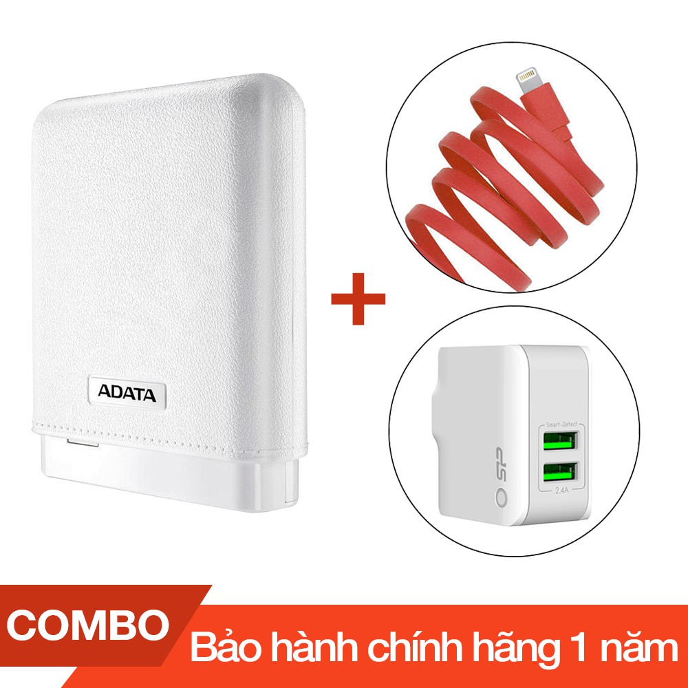 Combo Pin sạc dự phòng 10000mAh ADATA PV150 + Cáp sạc lightning Romoss dài 1m + Cốc sạc 2 cổng USB 2