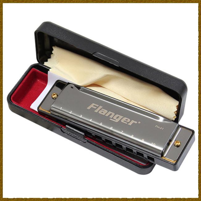 Kèn Harmonica chuẩn 10 lỗ 20 tông dành cho người mới tập/chuyên nghiệp hiệu Flanger FH-01 kích thước 10.4×2.8×1.8cm
