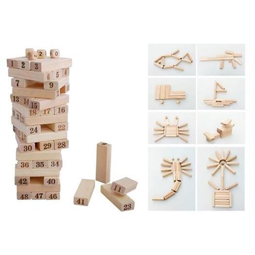Rút gỗ, xếp hình sáng tạo cho bé 54 thanh 34 IN 1
