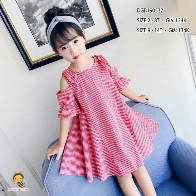 (Combo) Đầm kate xòe trễ vai bé gái