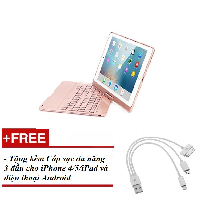 [ HÀNG NHẬP KHẨU] Bàn phím Bluetooth không dây cao cấp cho Ipad Pro 10.5(Màu Rose Gold) + Tặng kèm h