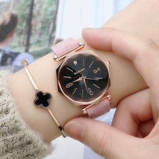Đồng hồ nữ Gogoey Korea G9 dây da lộn mặt kim sa viền 3D sang chảnh AH461