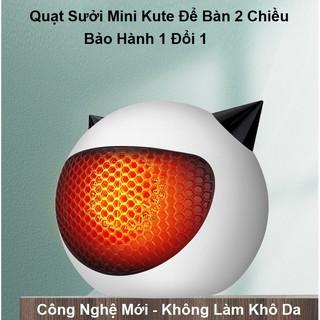 Quạt Sưởi Mini Để Bàn 500W - Quạt Sưởi 2 Chiều Tai Mèo Để Bàn Mini Kute - Nhiệt Tỏa Đều, Không Mùi, Đa Năng Tiện Dụng