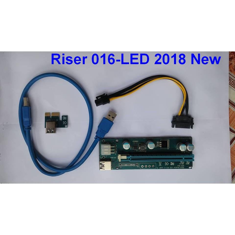 Riser PCIE 1x to 16X Ver 016-LED (6 pin)
