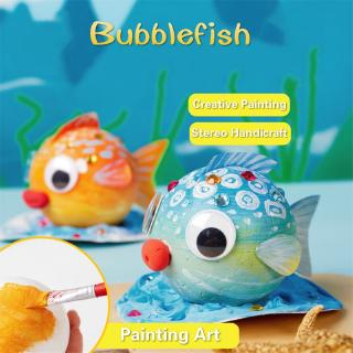 ❤ DIY Bubble Fish Drawing Toys For Children Foam Ball Painting Kindergarten Art Kids Craft Educational Toys Decorations Gifts
