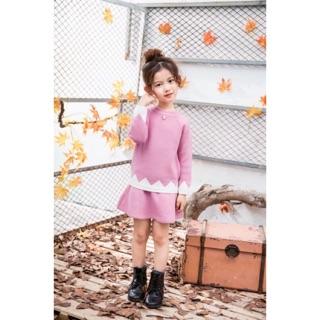 Váy len zic zắc cho bé gái (có 2 màu hồng, vàng)