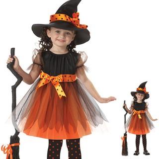 Trang phục hóa trang cô phù thủy nhỏ Halloween cực đáng yêu cho bé gái