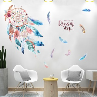 Living room fresh ins wind plant creative warm wall stickers net red bedroom roo