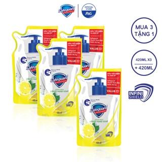 """[Mua 3 Tặng 1] Combo 3 Nước rửa tay Safeguard 420ml dạng túi - Tặng 1 túi cùng loại giá chỉ còn <strong class=""""price"""">11.500.000.000đ</strong>"""