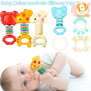 SL♣ Safety Baby Rattles Teether Toy Gutta Molar Bars Biting Bells Silicone Teething Appease Toys