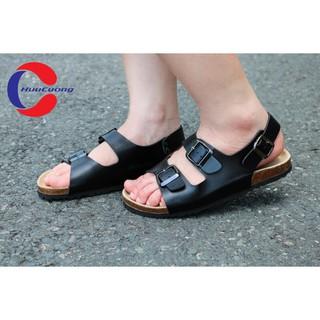 Giày sandal 2 khóa đen đế trấu