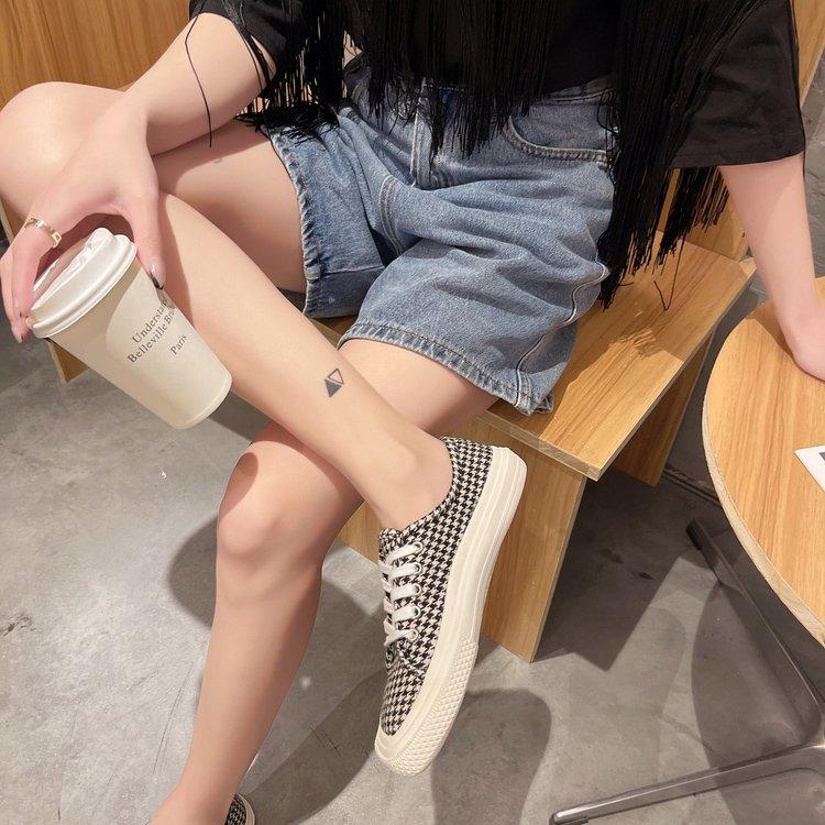 Giày Vải Ulzzang Canvas Cổ Thấp Họa Tiết Da Báo Cá Tính Cho Nữ
