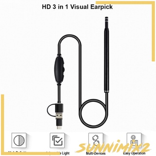 [SUNNIMIX2] 3 In 1 USB Ear Cleaning Endoscope Visual Earpick Camera Otoscope Earwax Remover