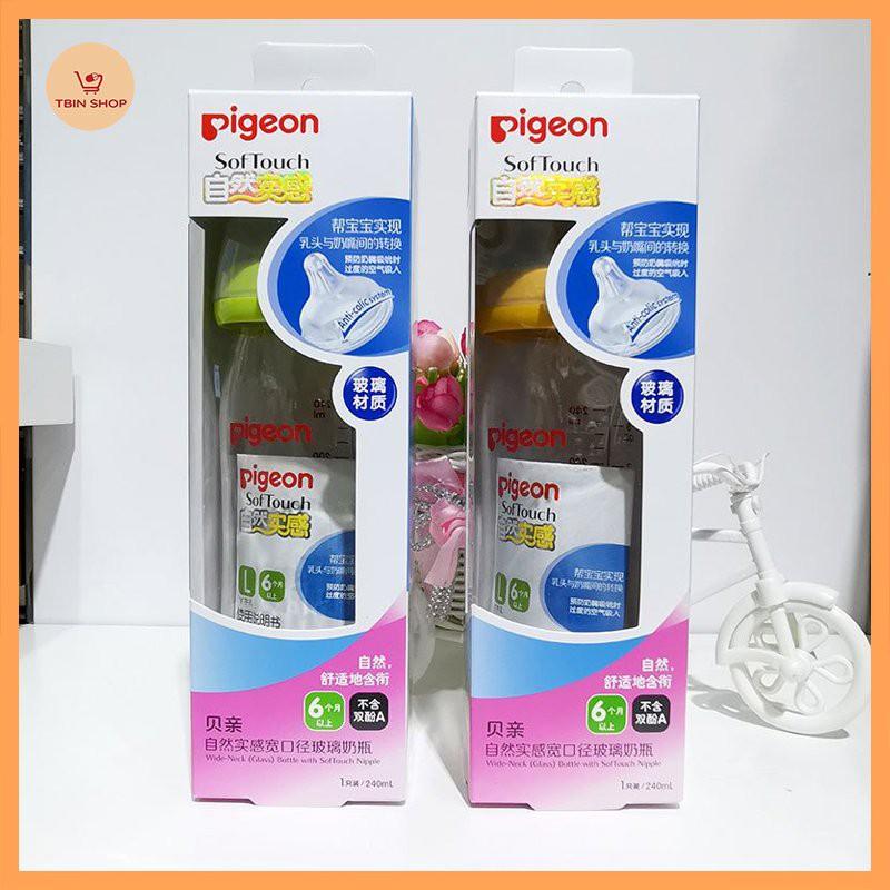 Bình sữa thủy tinh Pigeon cổ rộng 160-240ml