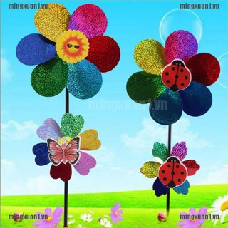 MINONE Kids Toy Colorful Sequins Windmill Wind Spinner Home Garden Yard Decoration