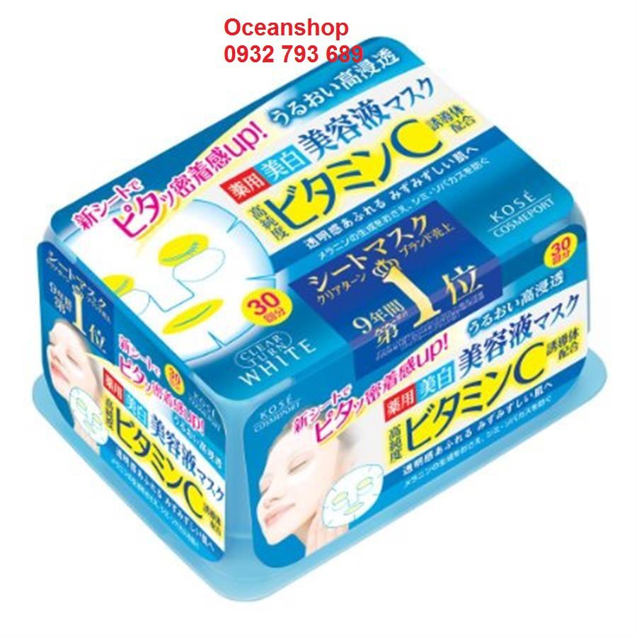 Mặt nạ trắng da Kose Clear Turn White màu xanh 30 miếng (Bill mua tại siêu thị Nhật ảnh bên cạnh)