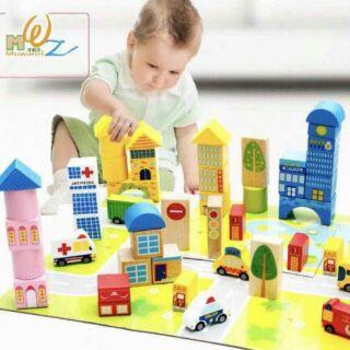 Bộ đồ chơi xếp hình gỗ thành phố 62 chi tiết
