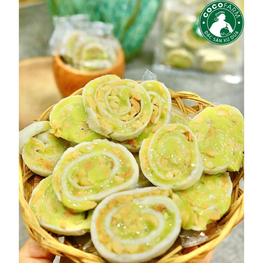 Kẹo Dừa nướng Dứa Đậu Phộng cuộn bánh tráng Cocofarm bịch 500g