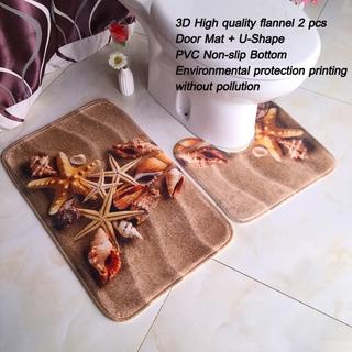 PVC chống trượt trong phòng tắm Mát 2pcs Toilet Mat Thảm tấm thảm chùi chân Chăn Tầng Mat 3D In ấn Trang chủ trang trí