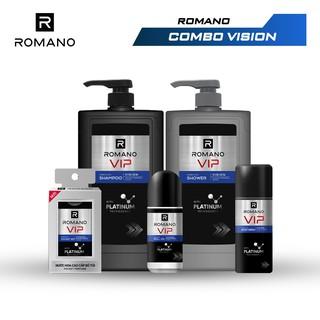 """Combo Trọn Bộ Romano Vip Vision 2020: Dầu gội 650g + Sữa tắm 650g + Xịt khử mùi 150ml + Lăn 50ml + Nước hoa bỏ túi 18ml giá chỉ còn <strong class=""""price"""">34.500.000.000đ</strong>"""
