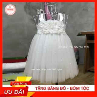 Váy công chúa ❤️FREESHIP❤️ Váy công chúa cho bé trắng hoa 3D đính đá