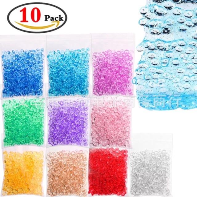 Hạt Fish Bowl oval beads nhiều màu - hạt nhựa trộn slime 50g/ bịch - có 10 màu