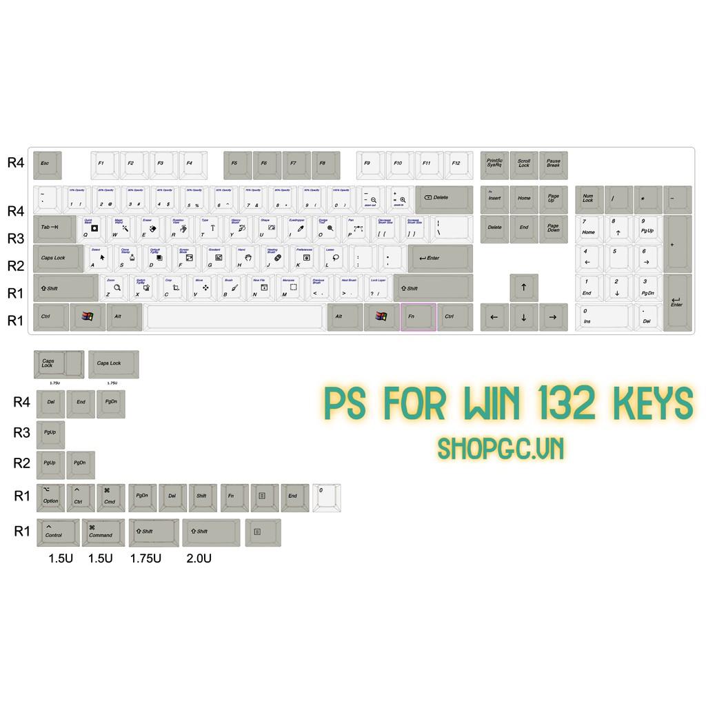 Bộ Keycap Photoshop Win 132 nút Profile Cherry
