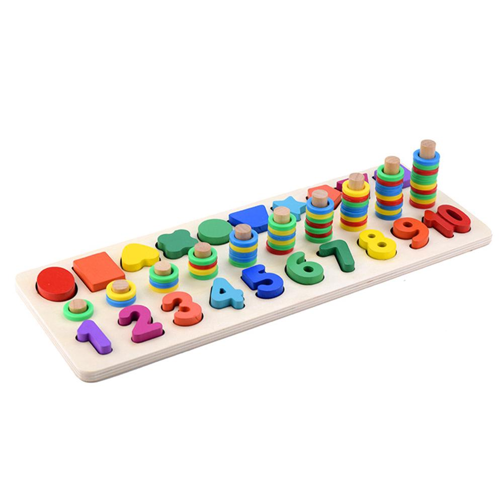 Wooden Toy Wood Circle Montessori Game Shape Number Digital Match Board Cylinder